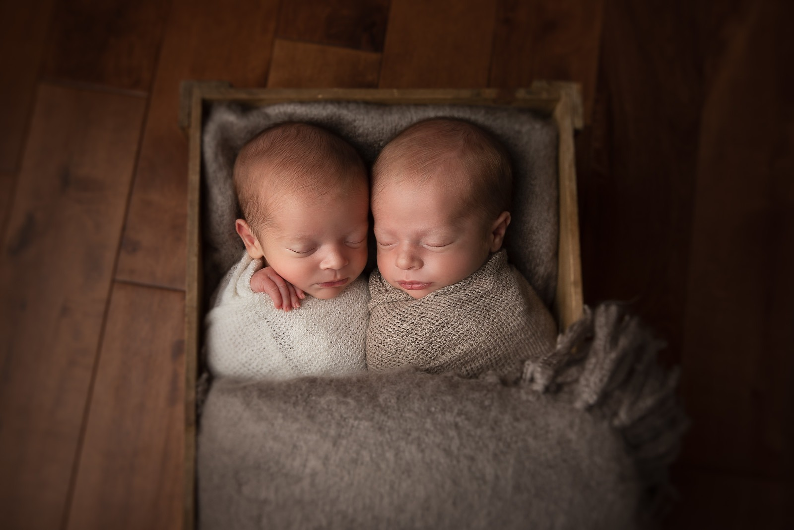 Twin Boys in newborn studio session
