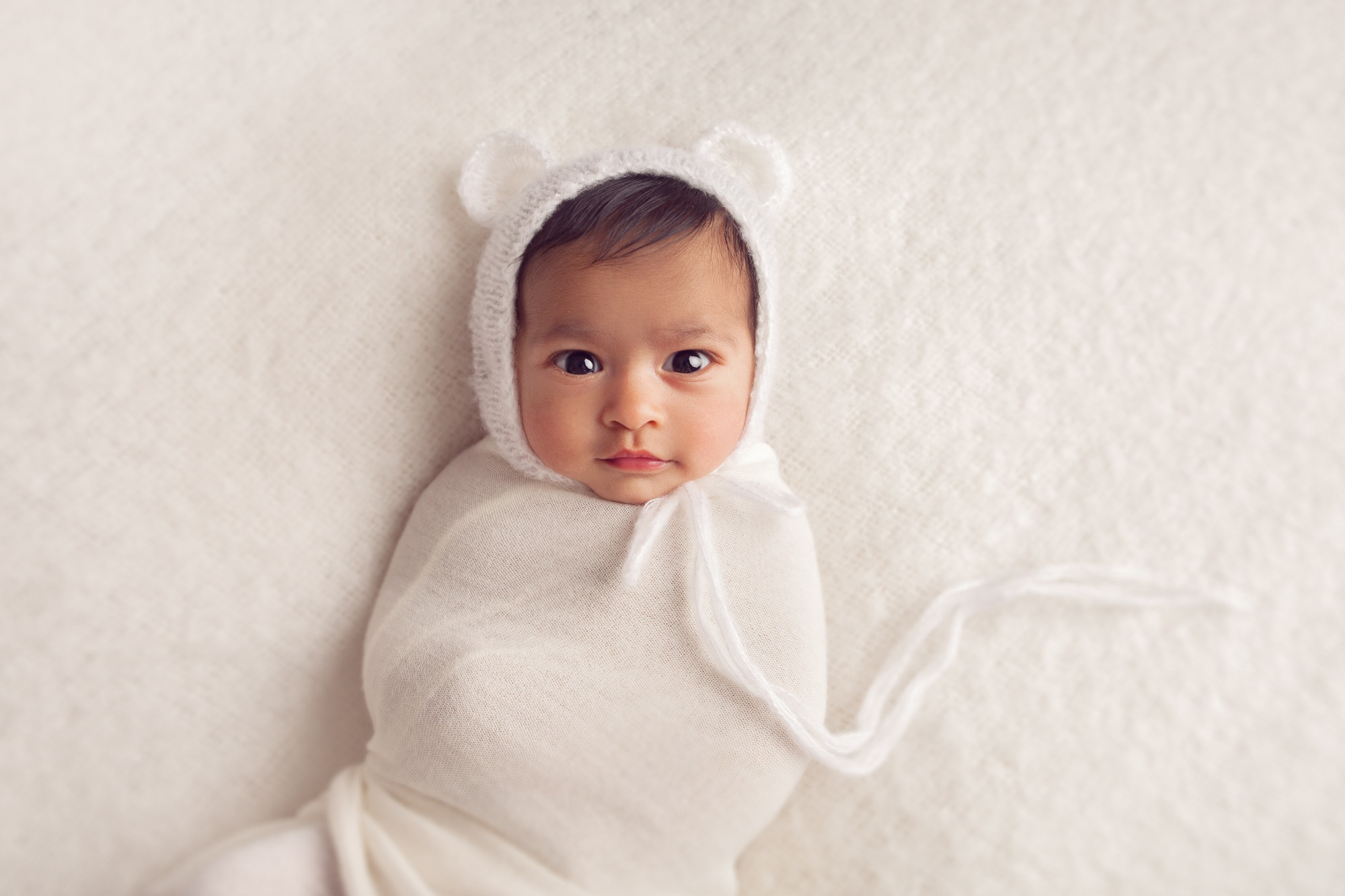 Swaddled newborn on white background