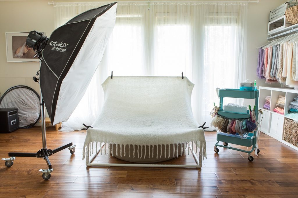 Set and light set-up for newborn photography