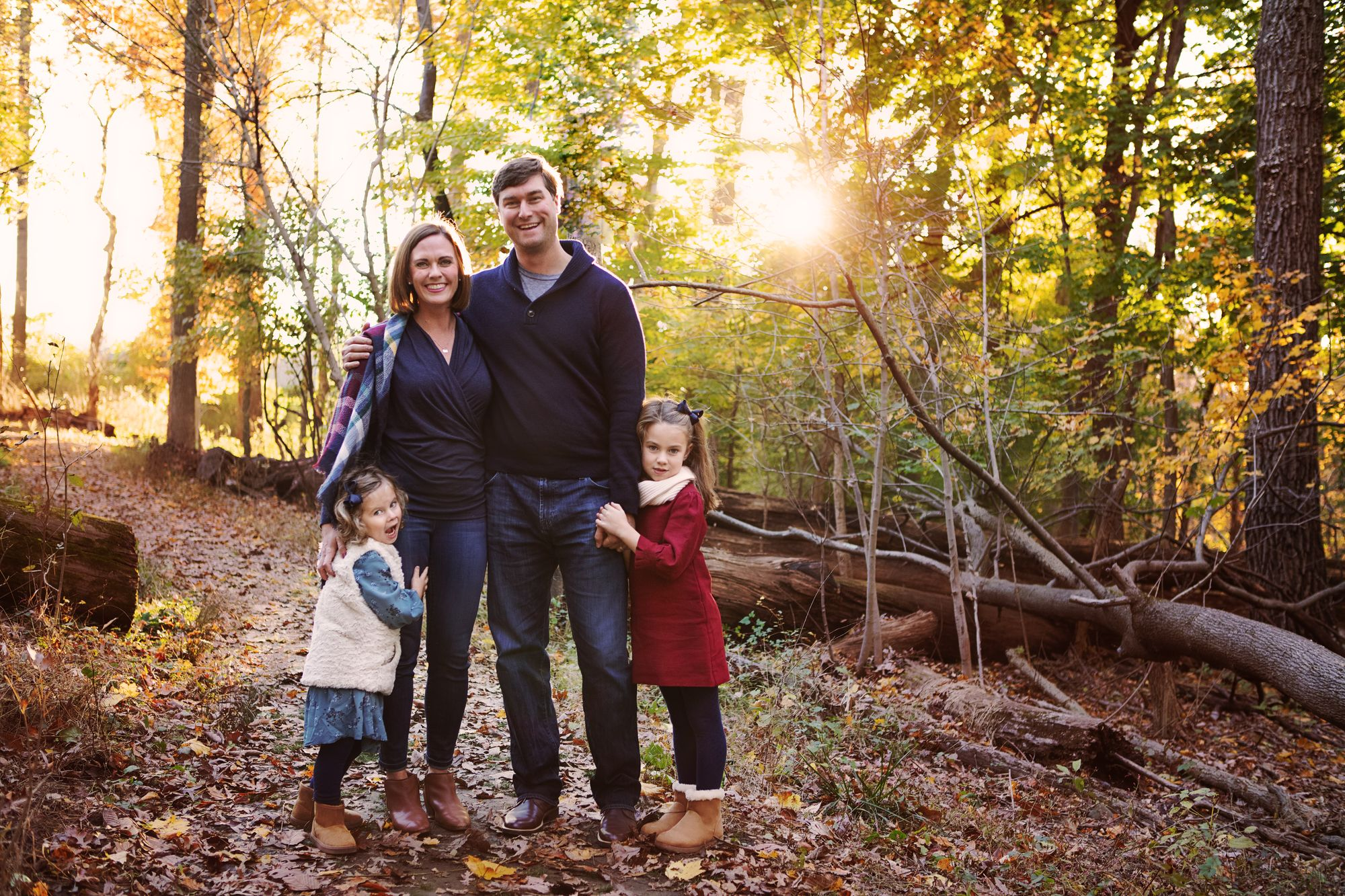 An autumn portrait photography session of a family
