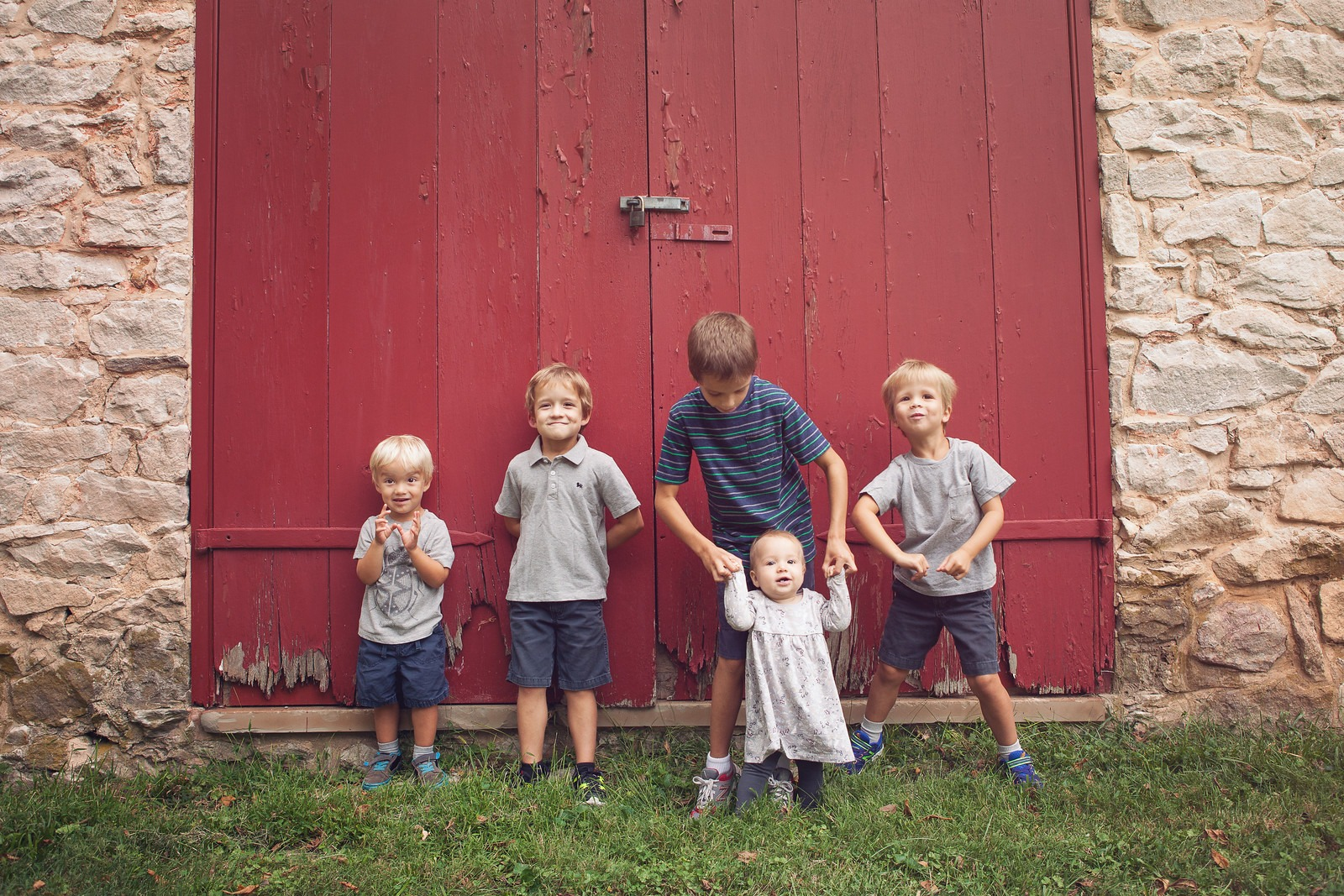 Children Photo Session in Front of Farm House Red Door