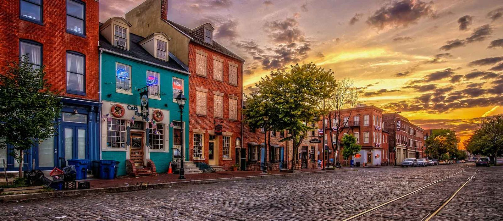 Cobblestone road and houses in Fells Point