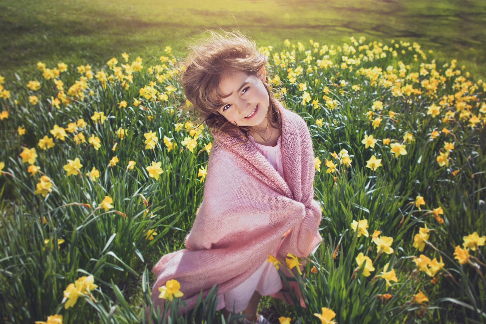 Girl with Pink Blanket in Daffodil Field in Cylburn Arboretum