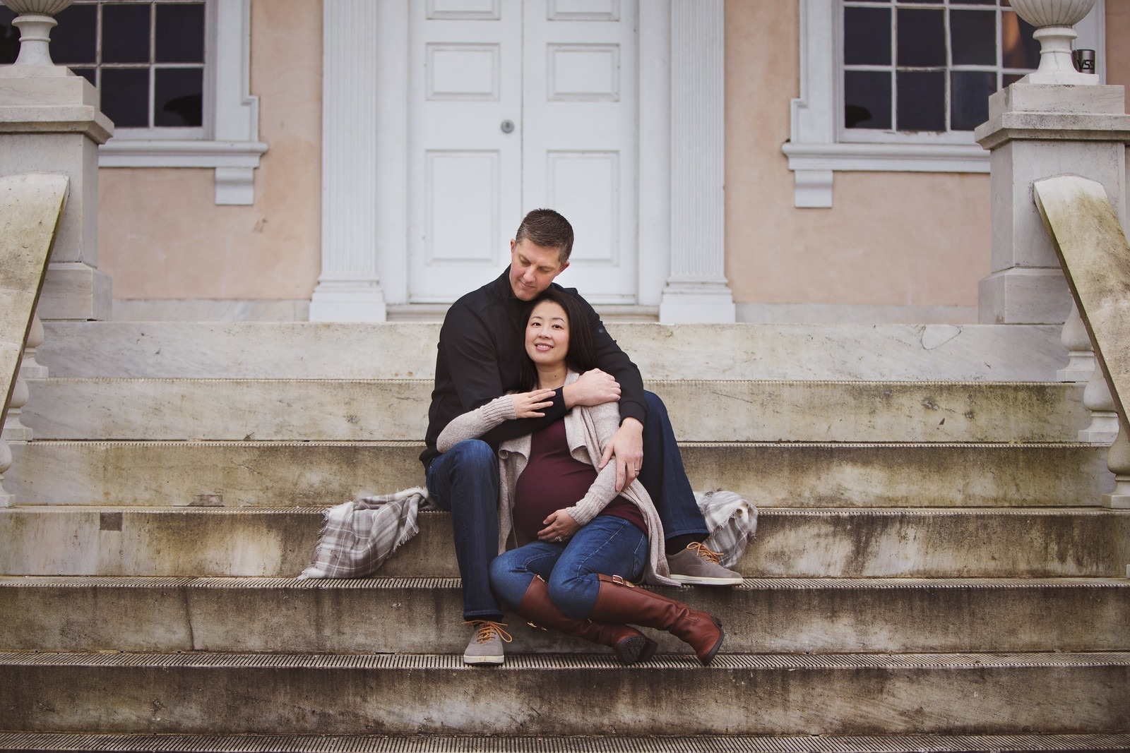 Maternity Portrait on the Stairs of the Mansion