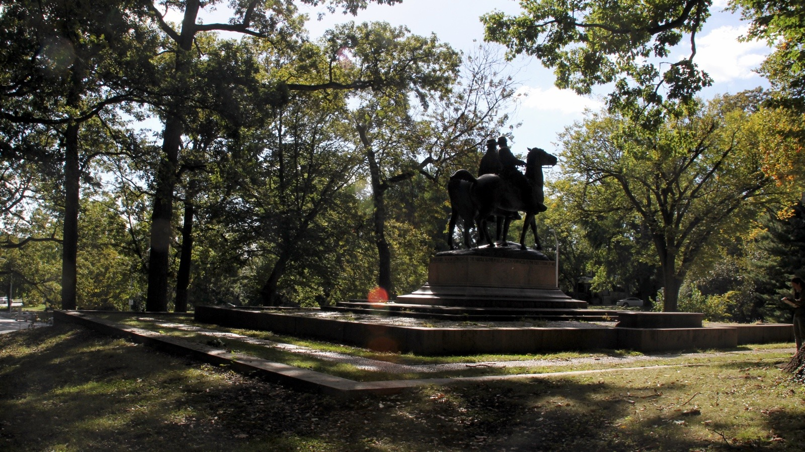Monuments in Wyman Park Dell