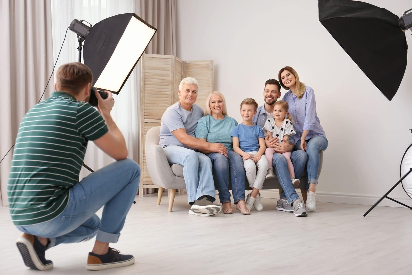 Photographing family in a studio conditions