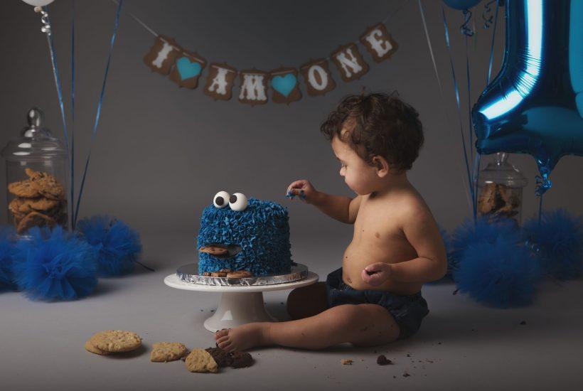 Baby boy in studio milestone photography session