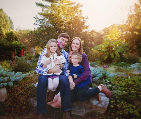 Family photo in Baltimore, Maryland arboretum