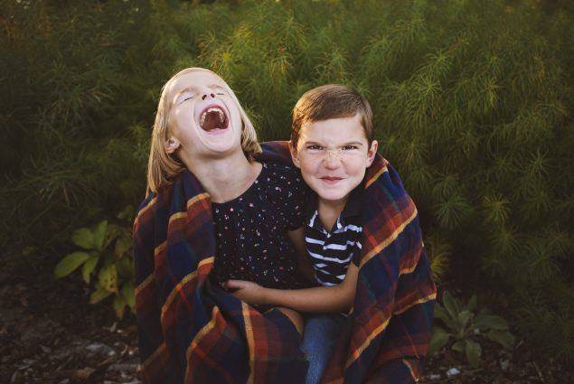 Funny portrait of brother and sister