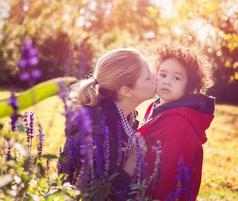 Mom and son portrait in an outdoor family photoshoot