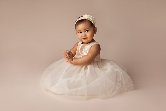 One year old in milestone studio session