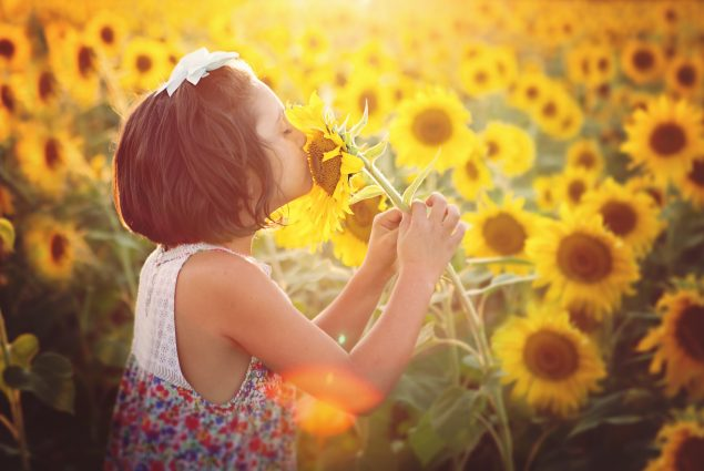 Picture of a girl smelling a sunflower in an outdoor session