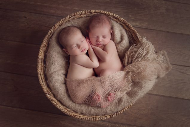 Twin newborns in wicker basket